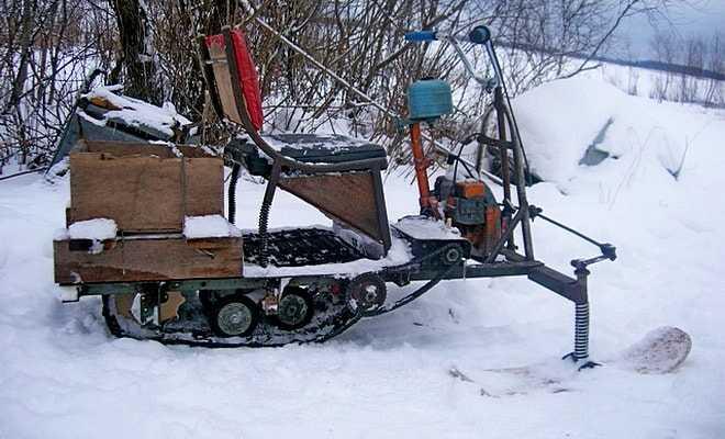 Самодельный снегоход из бензопилы