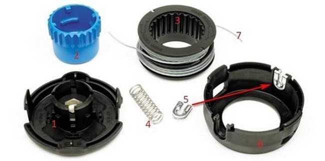 Ремонт головки триммера, разборка и сборка катушки, замена лески