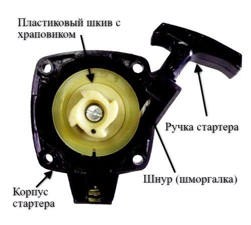 Ремонт стартера триммера своими руками, разборка и сборка узла